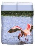 Lesser Flamingo Filter Feeding Lake Nakuru Kenya Duvet Cover
