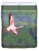 Lesser Flamingo Phoenicopterus Minor Flying Duvet Cover