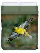 Lesser Goldfinch Male-flying Duvet Cover