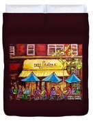 Lester's Deli Montreal Smoked Meat Paris Style French Cafe Paintings Carole Spandau Duvet Cover