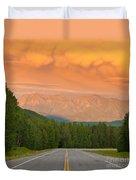 Liard River Valley Alaska Highway Bc Canada Sunset Duvet Cover