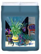 Library Courtyard-rhodes Old Town Duvet Cover