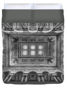 Library Of Congress Main Hall Ceiling Bw Duvet Cover