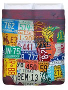License Plate Map Of The United States Duvet Cover