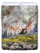 Lichen On Sea Beach Rock Duvet Cover