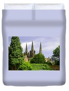Lichfield Cathedral From The Garden Duvet Cover