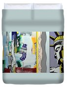 Lichtenstein's Painting With Statue Of Liberty Duvet Cover