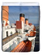Life Boats 01 Queen Mary Ocean Liner Port Long Beach Ca Duvet Cover