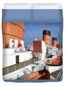 Life Boats 02 Queen Mary Ocean Liner Port Long Beach Ca Duvet Cover