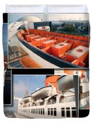 Life Boats Collage Queen Mary Ocean Liner Long Beach Ca Duvet Cover