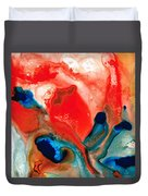 Life Force - Red Abstract By Sharon Cummings Duvet Cover by Sharon Cummings