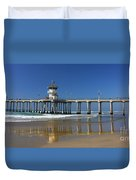 Life Guard Station Reflection On Ocean Sand At Huntington Beach City Pier Fine Art Photography Print Duvet Cover