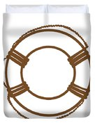 Life Preserver In Brown And White Duvet Cover
