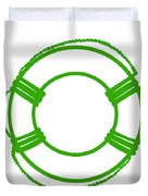 Life Preserver In Green And White Duvet Cover