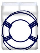 Life Preserver In Navy Blue And White Duvet Cover