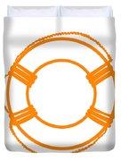 Life Preserver In Orange And White Duvet Cover