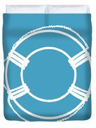 Life Preserver In White And Turquoise Blue Duvet Cover