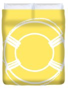 Life Preserver In White And Yellow Duvet Cover