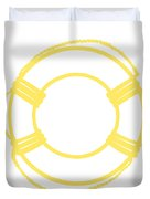 Life Preserver In Yellow And Whtie Duvet Cover