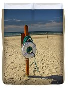 Life Preserver On The Beach In Pentwater Michigan Duvet Cover