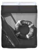Life Ring Uss Iowa Battleship Bw Duvet Cover
