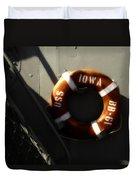 Life Ring Uss Iowa Battleship Sepia Duvet Cover