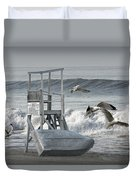 Lifeguard Station With Flying Gulls At A Lake Huron Beach Duvet Cover