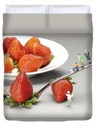 Lifting Strawberry By A Fork Lever Food Physics Duvet Cover