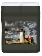 Light House In A Storm Duvet Cover