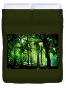 Light In The Jungles. Viridian Greens. Mauritius Duvet Cover