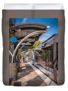 Light Rail Train System In Downtown Charlotte Nc Duvet Cover