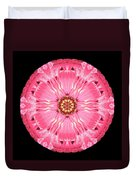 Light Red Zinnia Elegans Flower Mandala Duvet Cover by David J Bookbinder