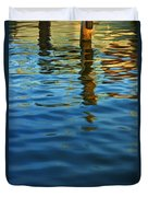 Light Reflections On The Water By A Dock At Aransas Pass Duvet Cover