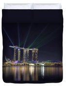 Light Show At Marina Bay Sands Hotel And Casino II Duvet Cover