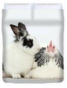 Light Sussex Bantam Hen And Rabbit Duvet Cover