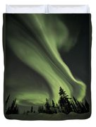 Light Swirls Over The Midnight Dome Duvet Cover by Priska Wettstein