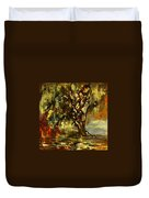 Light Through The Moss Tree Landscape Painting Duvet Cover