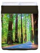 Light Through The Redwoods Duvet Cover