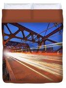 Light Trails On Broadway Bridge Duvet Cover