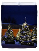 Lighted Trees With Snow Duvet Cover