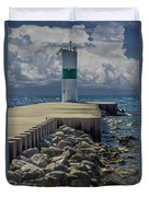 Lighthead At The End Of The Pier In Pentwater Michigan Duvet Cover