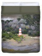 Lighthouse Aerial Near Jekyll Island Duvet Cover
