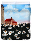 Lighthouse And Daisies Duvet Cover