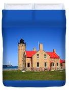 Lighthouse And Mackinac Bridge Duvet Cover