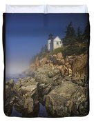 Lighthouse At Bass Harbor Maine Duvet Cover