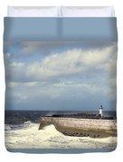 Lighthouse At Whitehaven Duvet Cover by Amanda Elwell