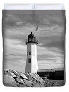 Lighthouse Black And White Duvet Cover