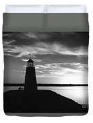 Lighthouse In Black And White Duvet Cover