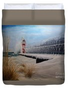 South Haven Mi Lighthouse In Four Seasons-winter Duvet Cover