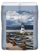 Lighthouse In Lake Dillon Duvet Cover
